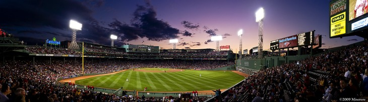 Fenway Park at Night Panaromic Picture